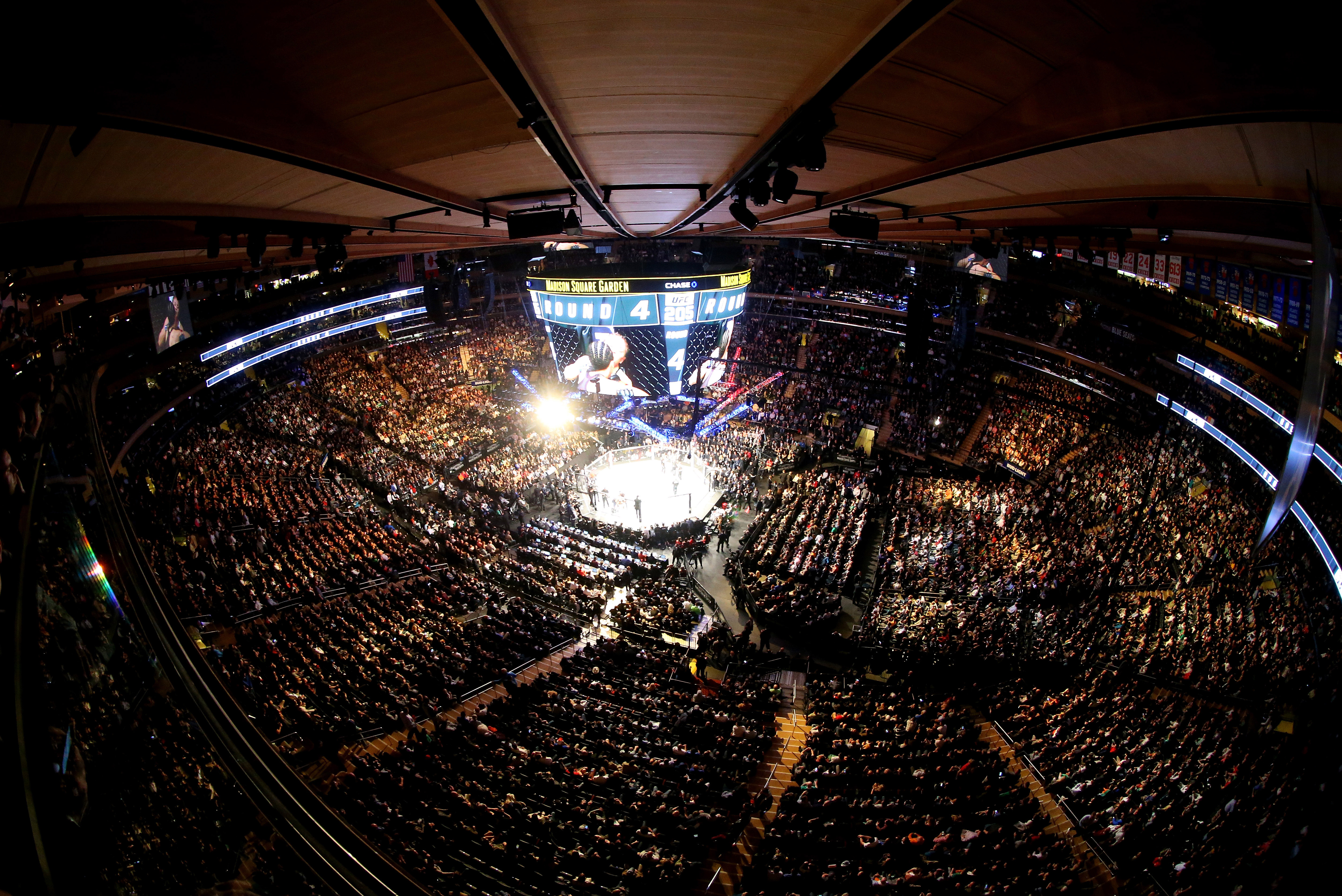 A general view of the octagon during the UFC 205 event at Madison Square Garden on November 12, 2016 in New York City. (Photo by Ed Mulholland/Zuffa LLC)