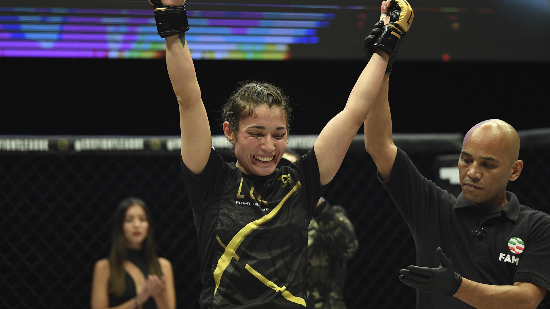 Tania Torres celebrates her LUX Fight League victory (photo curtesy of LUX Fight League)