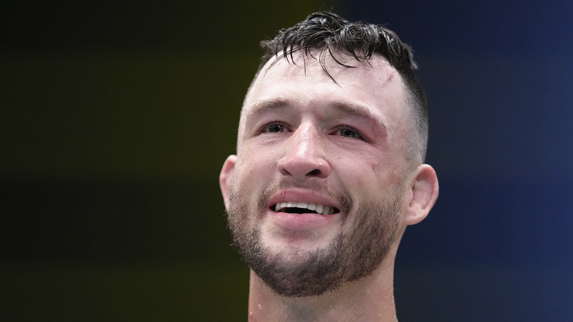 Julian Erosa reacts after his submission victory over Charles Jourdain of Canada in their fight during the UFC Fight Night event at UFC APEX on September 04, 2021 in Las Vegas, Nevada. (Photo by Jeff Bottari/Zuffa LLC)