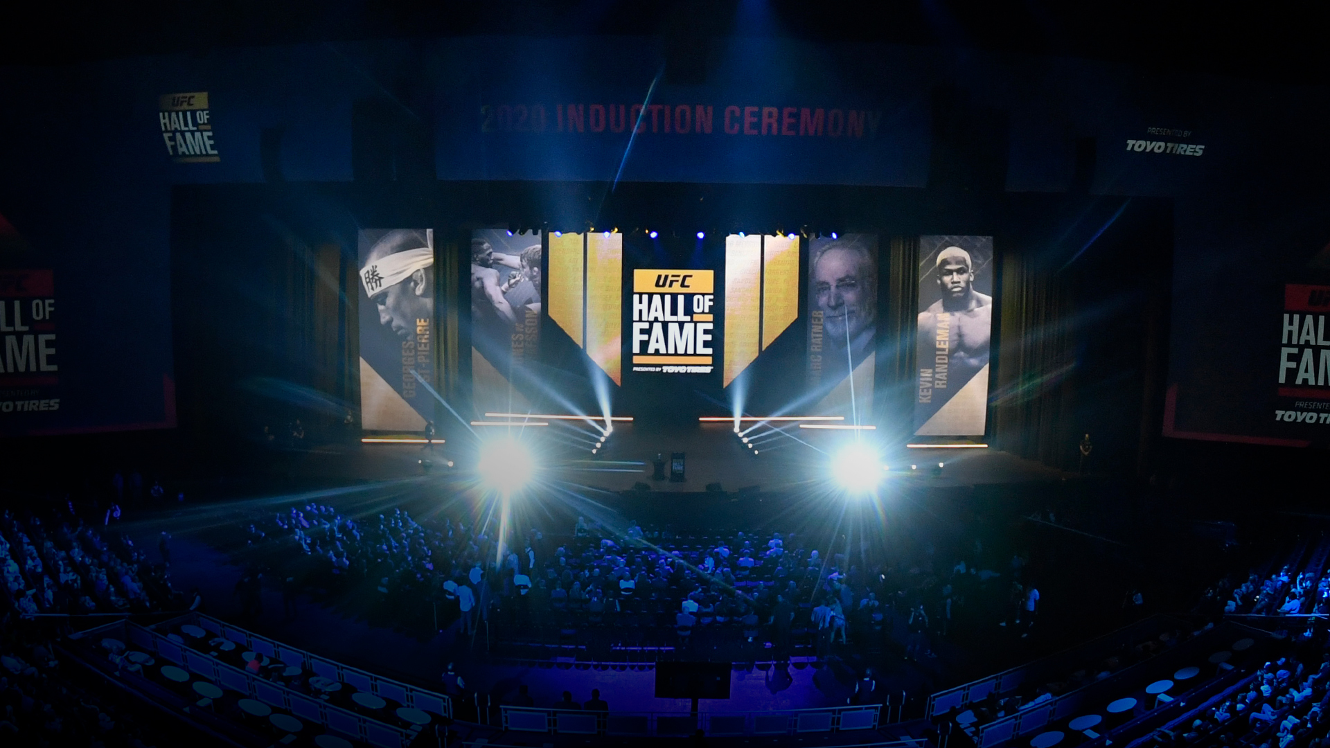 A general view of the stage during the UFC Hall of Fame Class of 2020 Induction Ceremony at Park Theater at Park MGM on September 23, 2021 in Las Vegas, Nevada. (Photo by Jeff Bottari/Zuffa LLC)