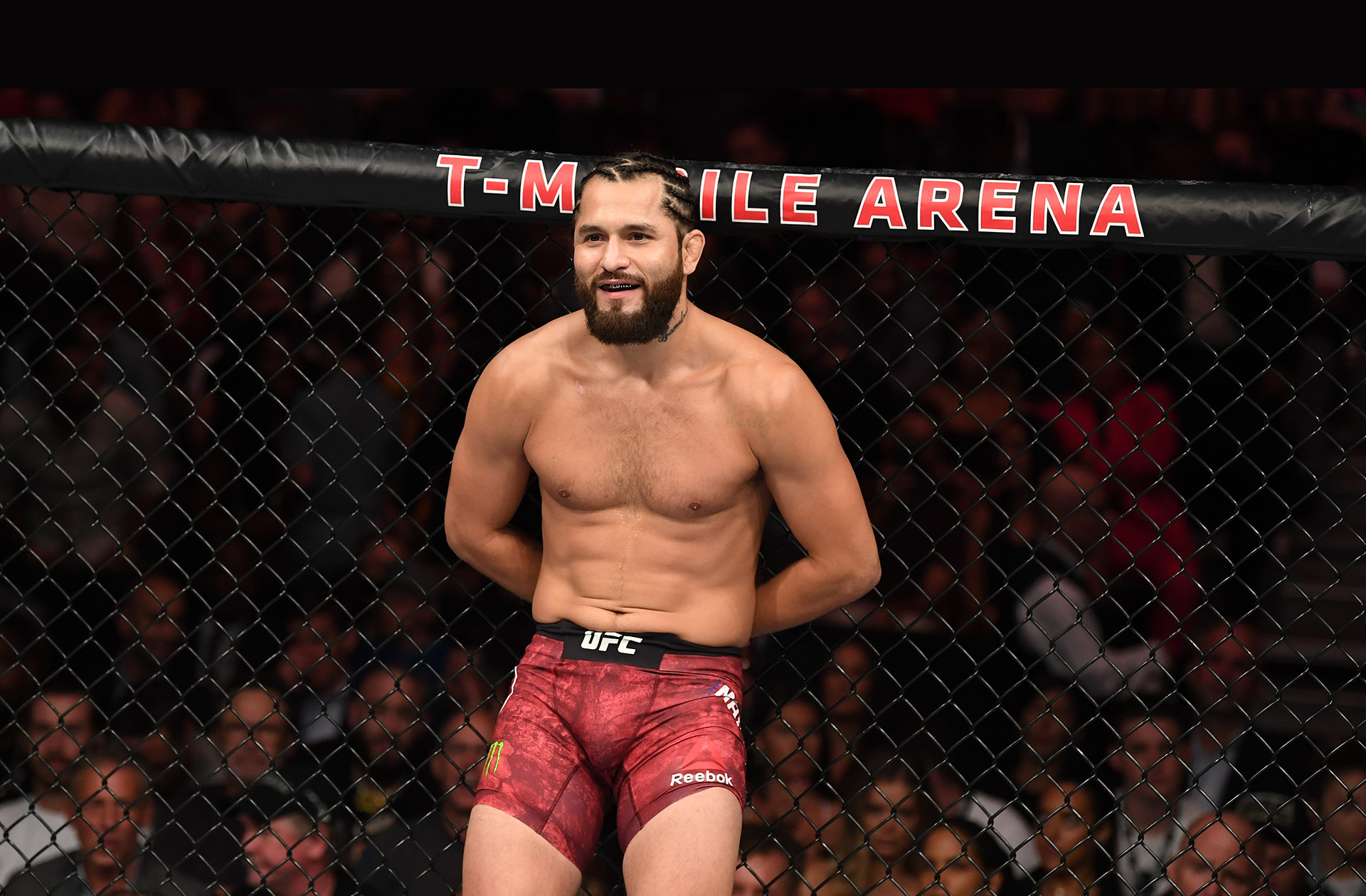 Jorge Masvidal rests against the cage following his welterweight fight during the UFC 239 event at T-Mobile Arena on July 6, 2019 in Las Vegas, Nevada. (Photo by Josh Hedges/Zuffa LLC)