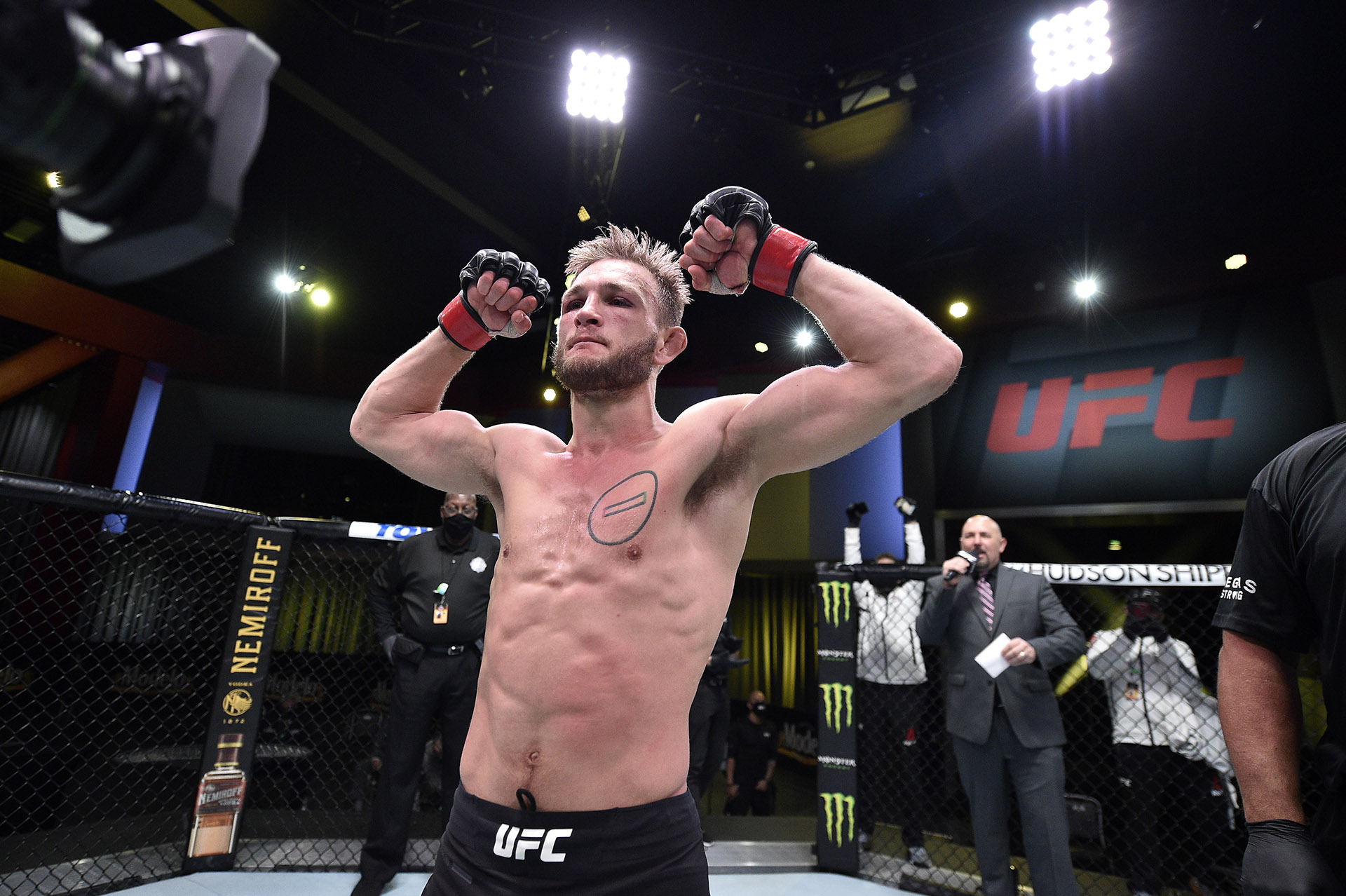 Jonathan Pearce reacts after defeating Kai Kamaka in their featherweight bout during the UFC Fight Night at UFC APEX on November 28, 2020 in Las Vegas, Nevada. (Photo by Chris Unger/Zuffa LLC)