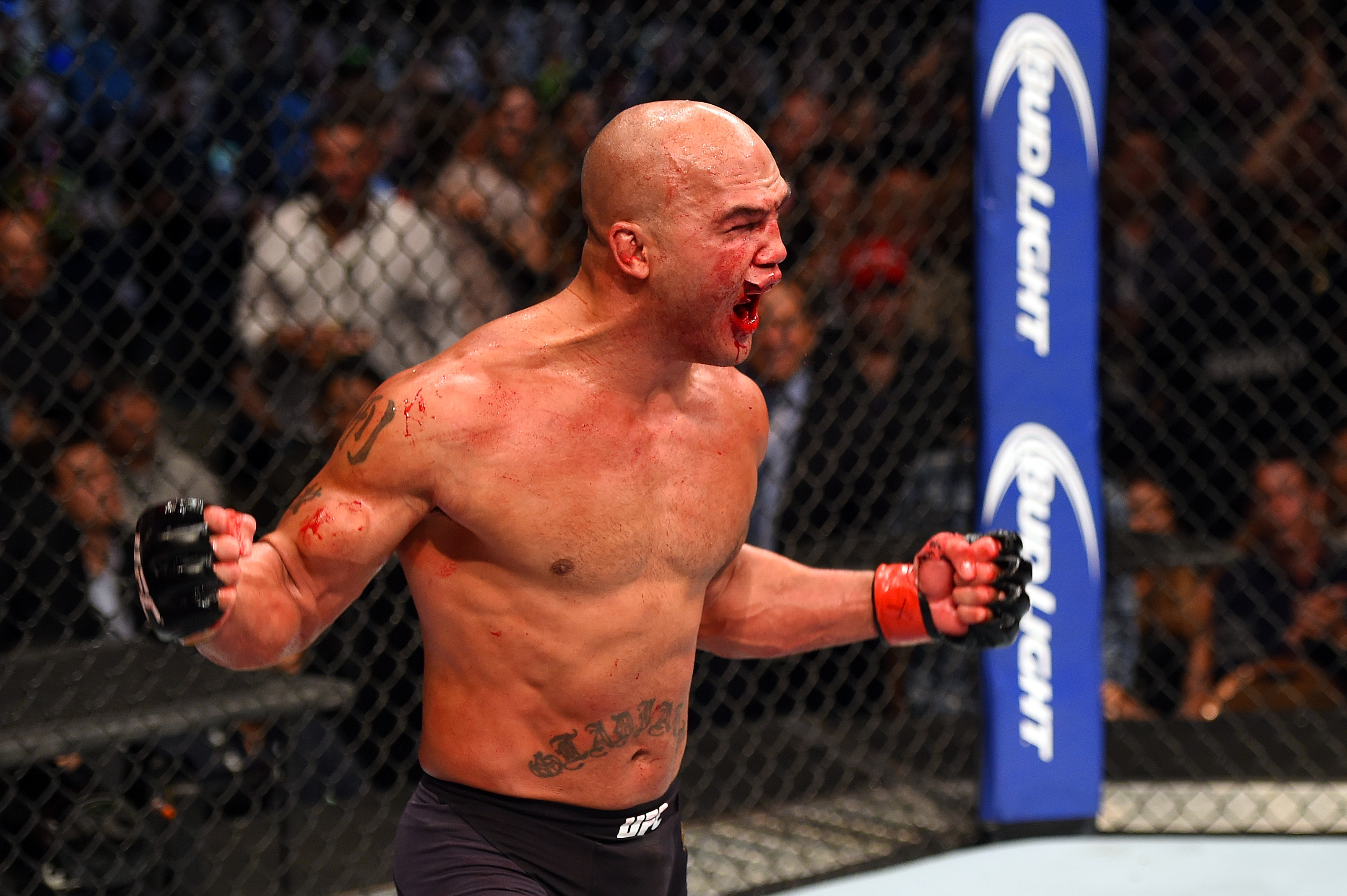 Robbie Lawler reacts to his victory over Rory MacDonald in their UFC welterweight title fight during the UFC 189 event inside MGM Grand Garden Arena on July 11, 2015 in Las Vegas, Nevada. (Photo by Josh Hedges/Zuffa LLC)