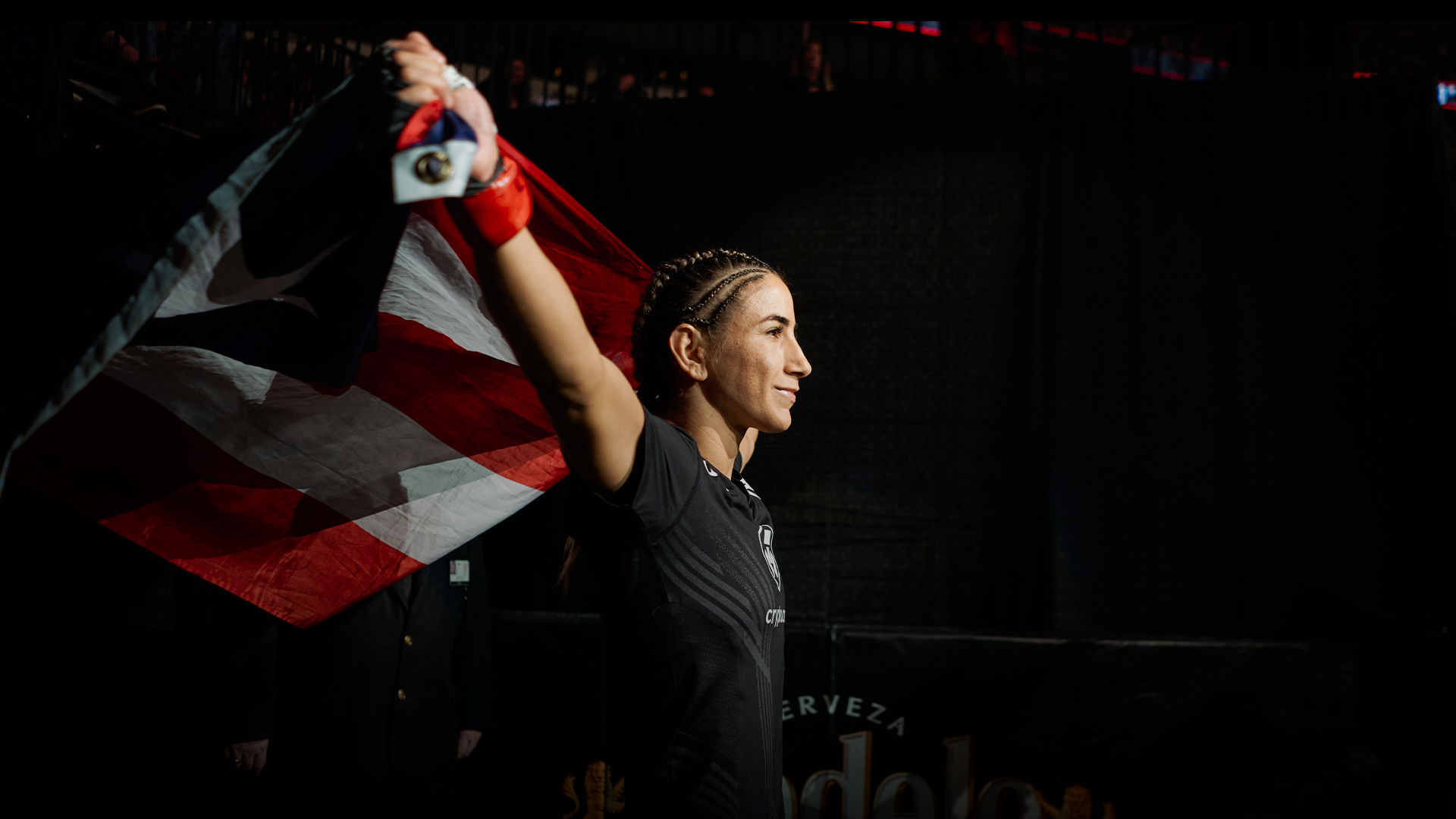 Tecia Torres walks out prior to her women's strawweight bout during the UFC 265 event at Toyota Center on August 07, 2021 in Houston, Texas. (Photo by Cooper Neill/Zuffa LLC)