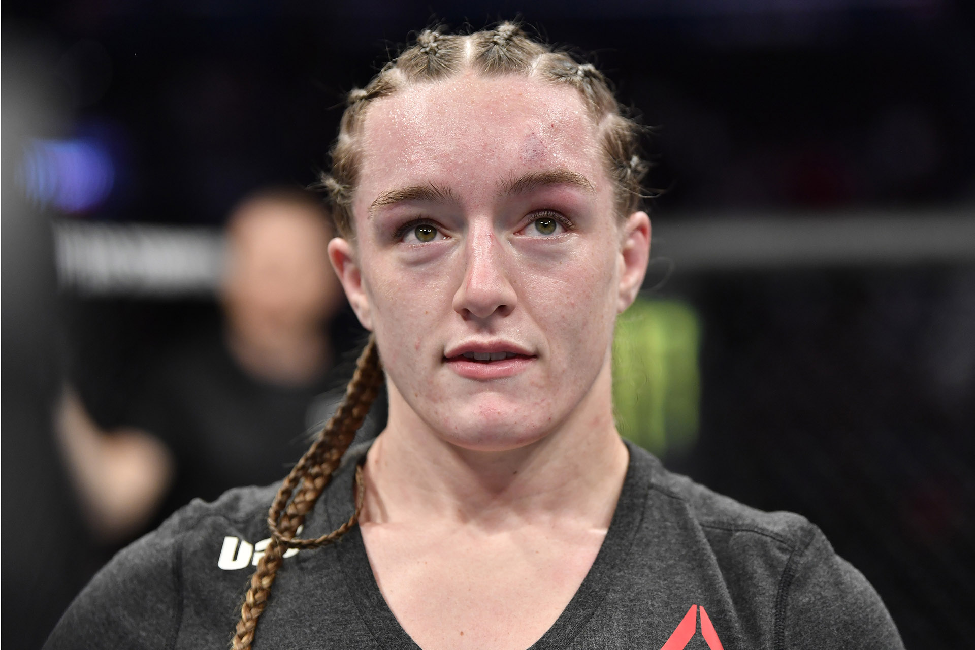 Aspen Ladd celebrates her TKO victory over Yana Kunitskaya of Russia in their women's bantamweight bout during the UFC Fight Night event at Capital One Arena on December 07, 2019 in Washington, DC. (Photo by Jeff Bottari/Zuffa LLC via Getty Images)