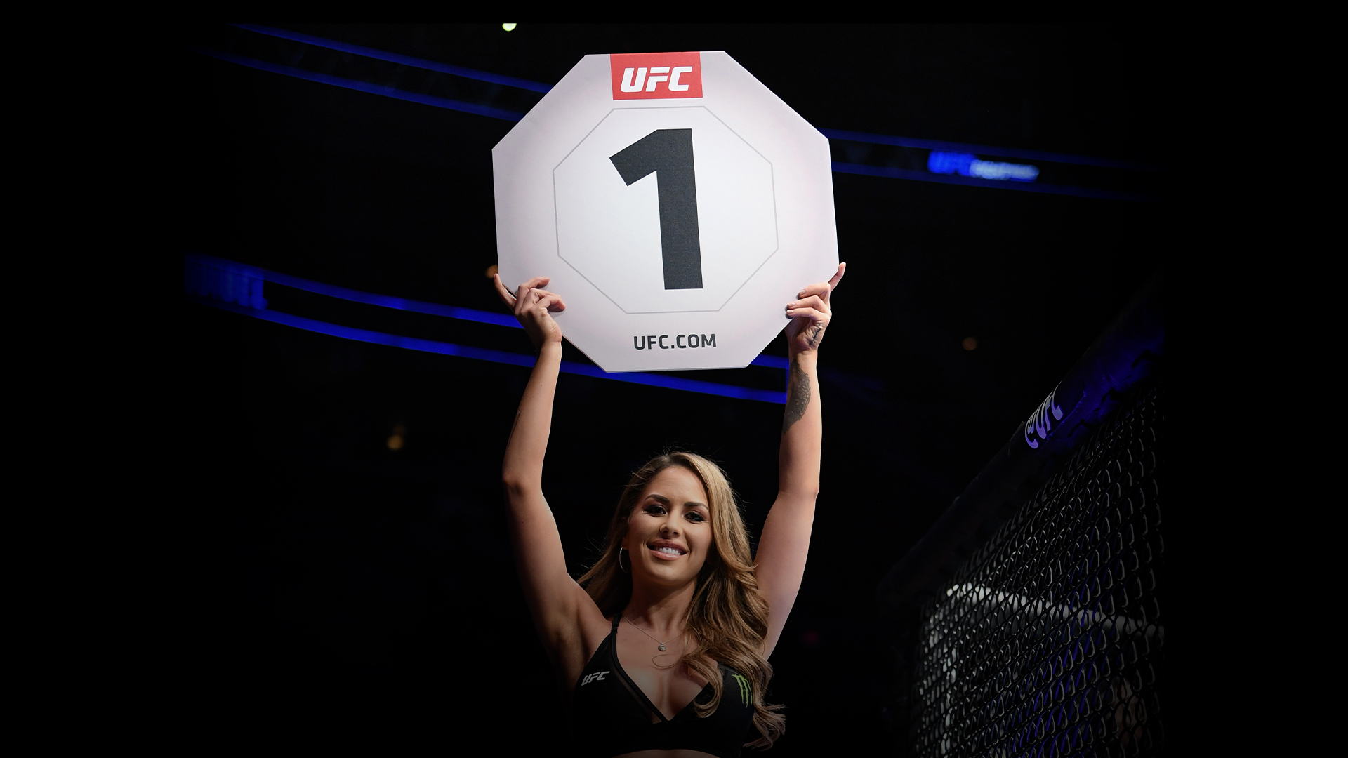 UFC Octagon girl Brittney Palmer introduces a round during the UFC Fight Night event at BB&T Center on April 27, 2019 in Sunrise, Florida. (Photo by Jeff Bottari/Zuffa LLC)