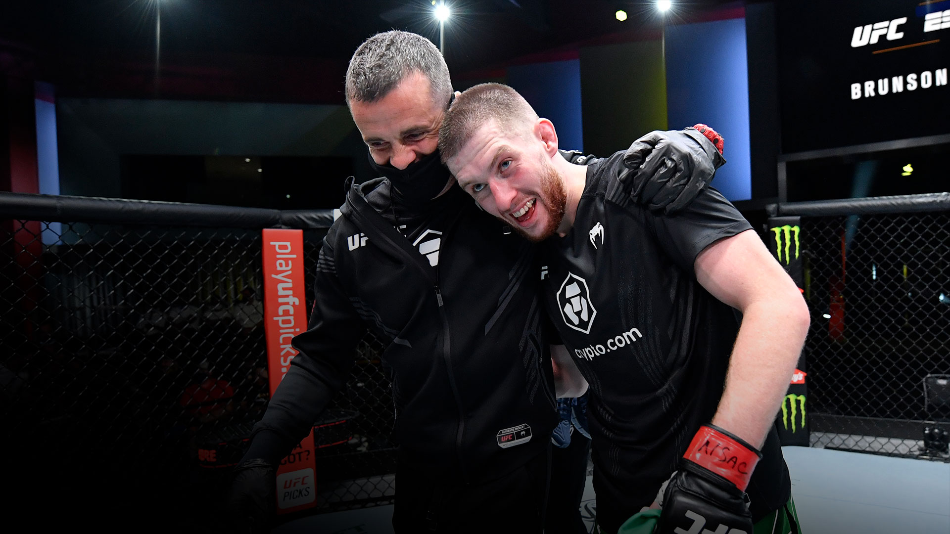 Jack Shore of Wales reacts after his victory over Liudvik Sholinian of the Ukraine in their bantamweight fight during the UFC Fight Night event at UFC APEX on September 04, 2021 in Las Vegas, Nevada. (Photo by Jeff Bottari/Zuffa LLC)