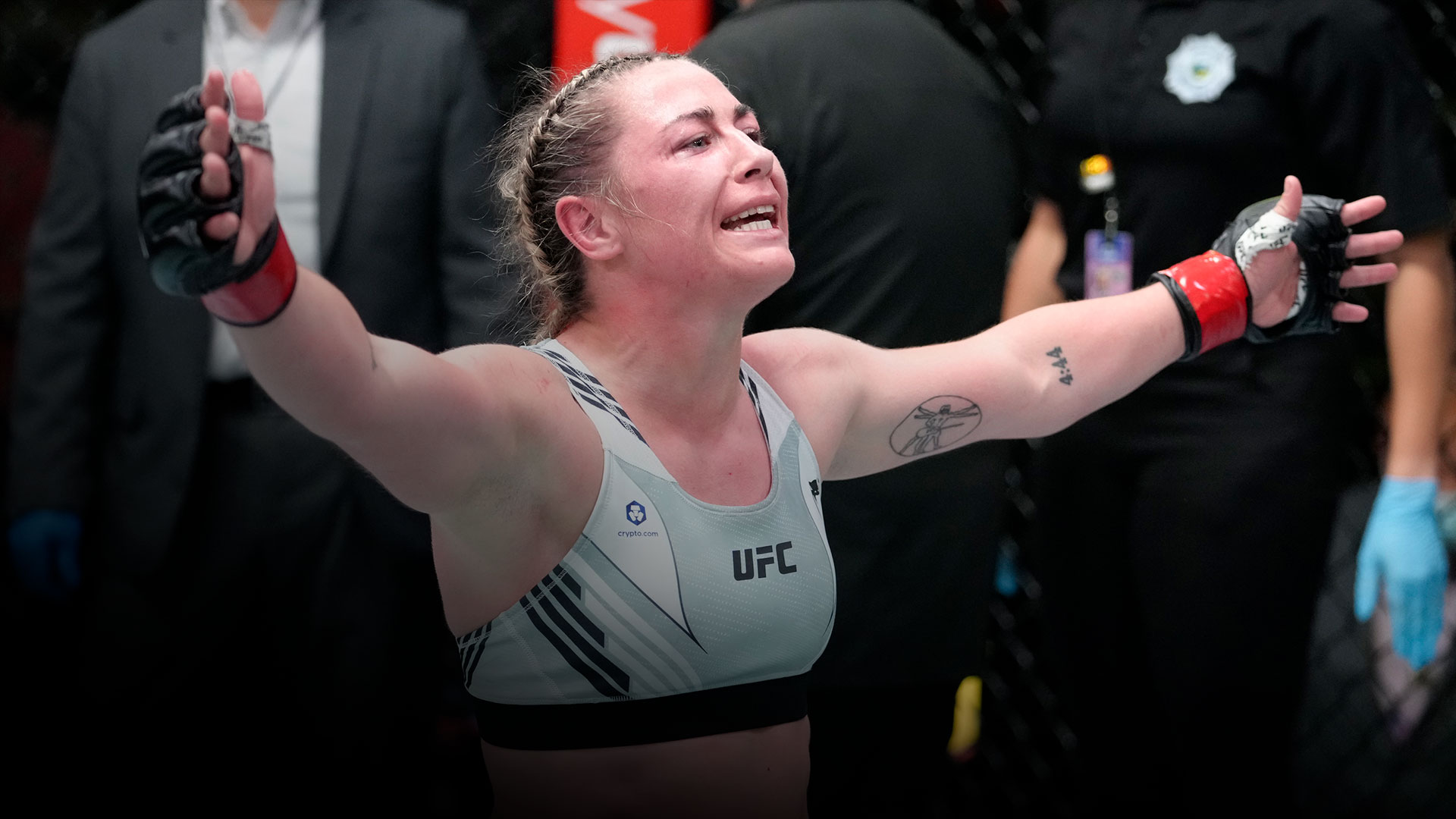 Molly McCann of England reacts after the conclusion of her flyweight fight against Ji Yeon Kim of South Korea during the UFC Fight Night event at UFC APEX on September 04, 2021 in Las Vegas, Nevada. (Photo by Jeff Bottari/Zuffa LLC)