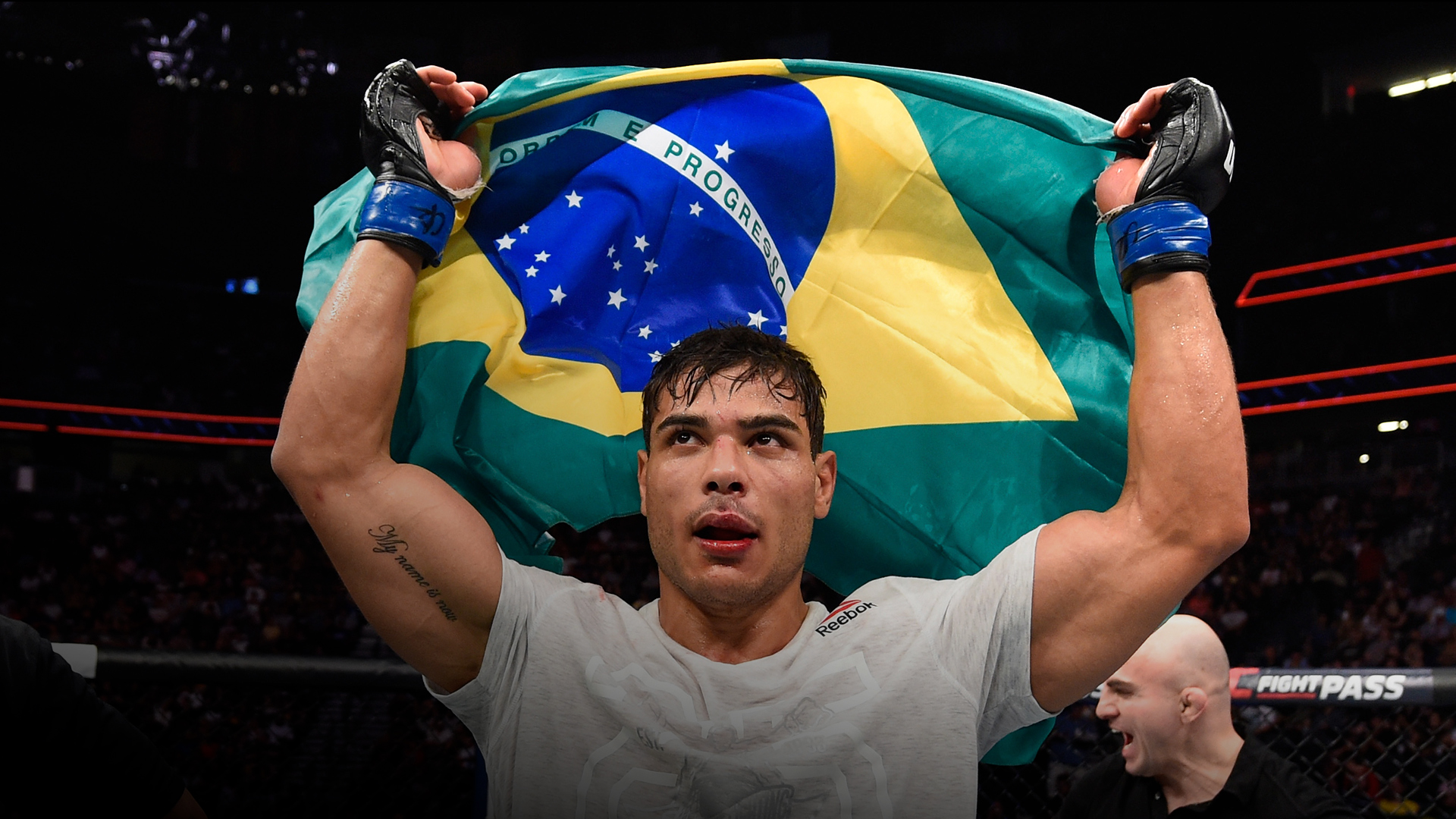 Paulo Costa of Brazil celebrates his win over Uriah Hall of Jamaica in their middleweight fight during the UFC 226 event inside T-Mobile Arena on July 7, 2018 in Las Vegas, Nevada. (Photo by Josh Hedges/Zuffa LLC)