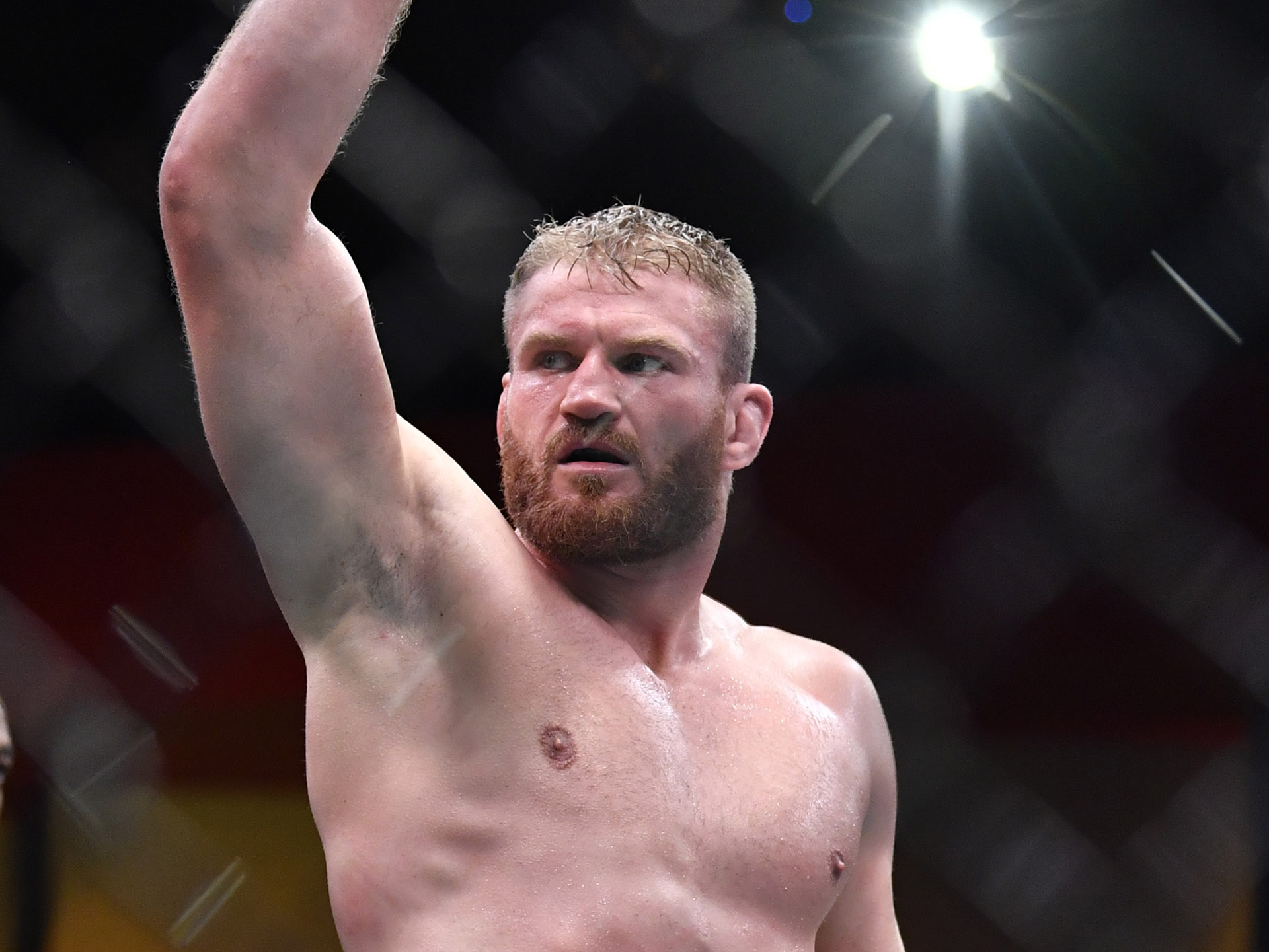 Jan Blachowicz of Poland reacts after the conclusion of his UFC light heavyweight championship fight against Israel Adesanya of Nigeria during the UFC 259 event at UFC APEX on March 06, 2021 in Las Vegas, Nevada. (Photo by Chris Unger/Zuffa LLC)