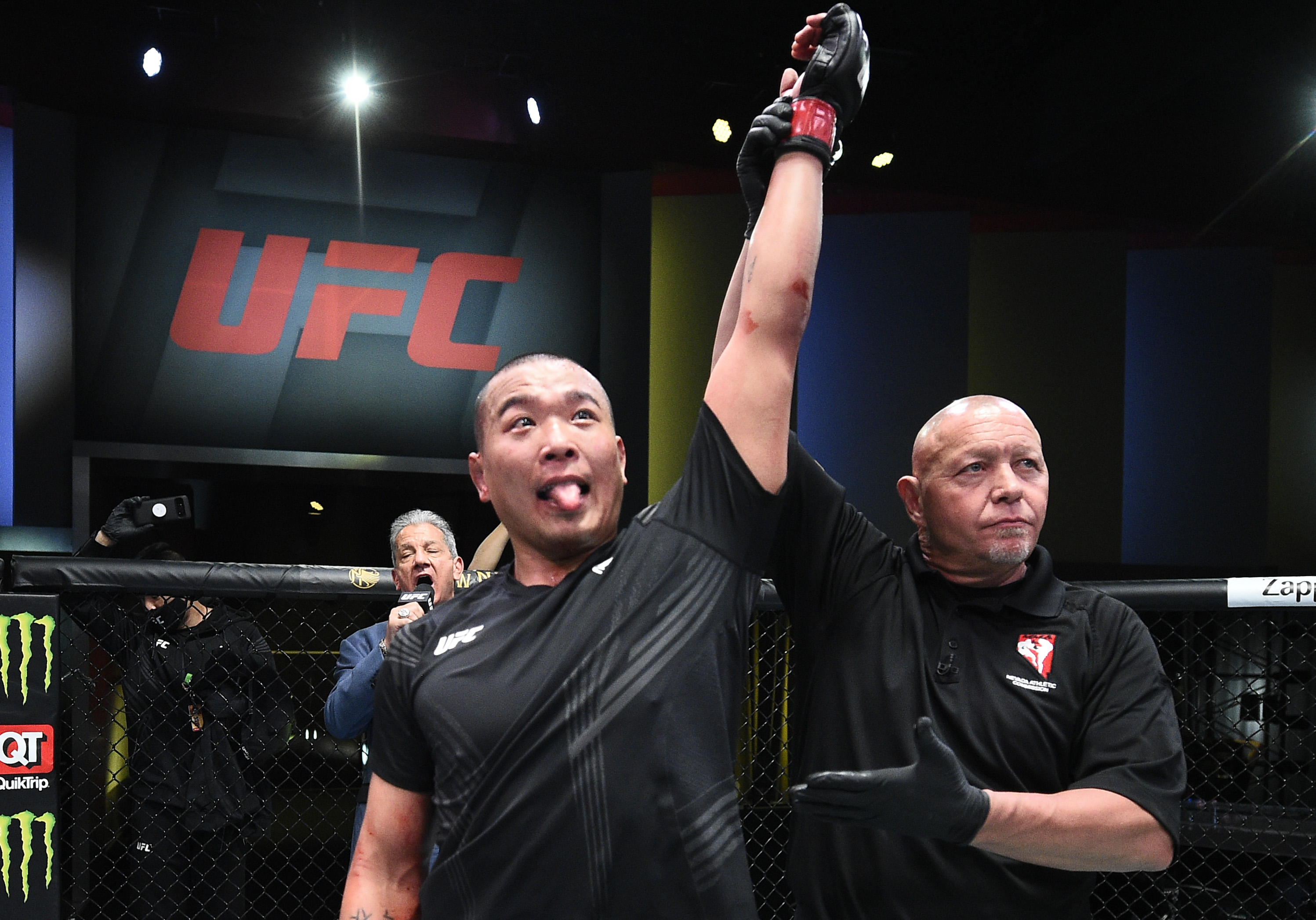 Junyong Park of South Korea reacts after his victory over Tafon Nchukwi of Cameroon in a middleweight fight during the UFC Fight Night event at UFC APEX on May 08, 2021 in Las Vegas, Nevada. (Photo by Chris Unger/Zuffa LLC)