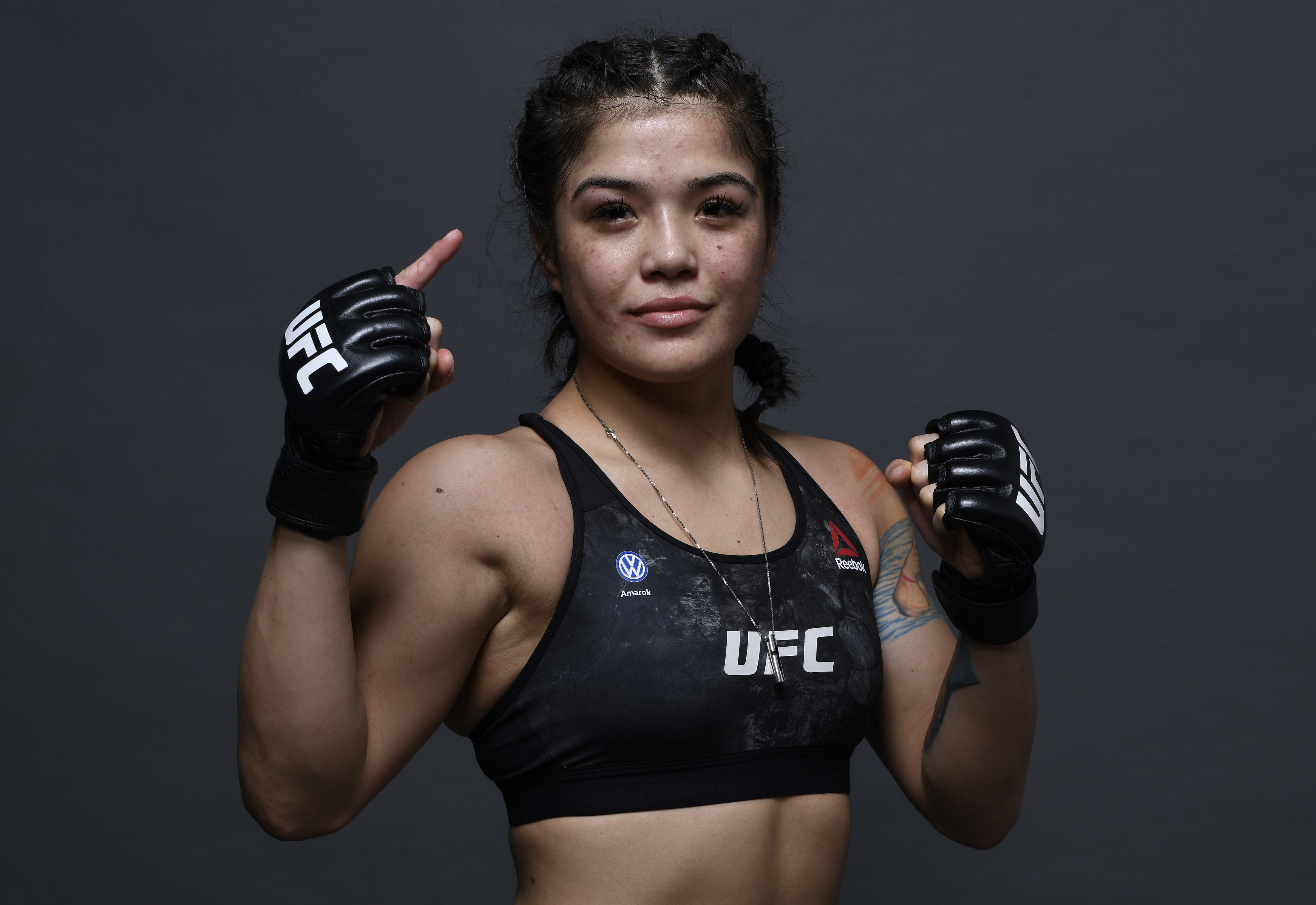 Tracy Cortez poses for a portrait backstage after her victory during the UFC Fight Night