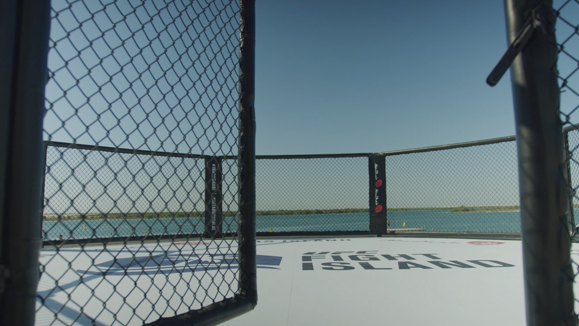 A general view of the beach Octagon on UFC Fight Island in Abu Dhabi 2020