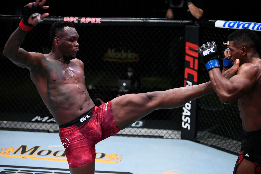 LAS VEGAS, NEVADA - SEPTEMBER 05: (L-R) Ovince Saint Preux kicks Alonzo Menifield in a light heavyweight fight during the UFC Fight Night