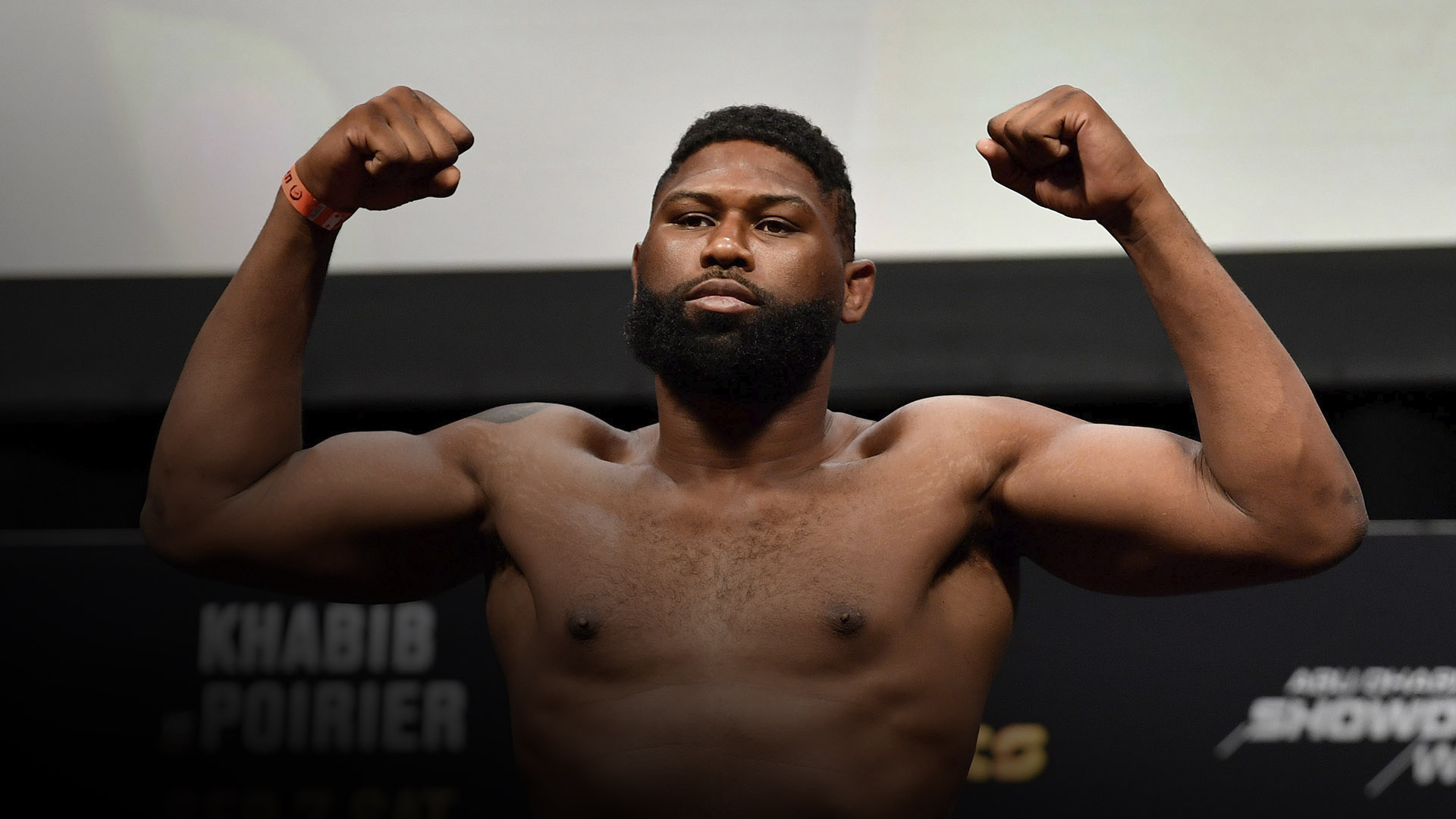 Curtis Blaydes poses on the scale during the UFC 242 weigh-in at The Arena on September 6, 2019 in Abu Dhabi, United Arab Emirates. (Photo by Jeff Bottari/Zuffa LLC)
