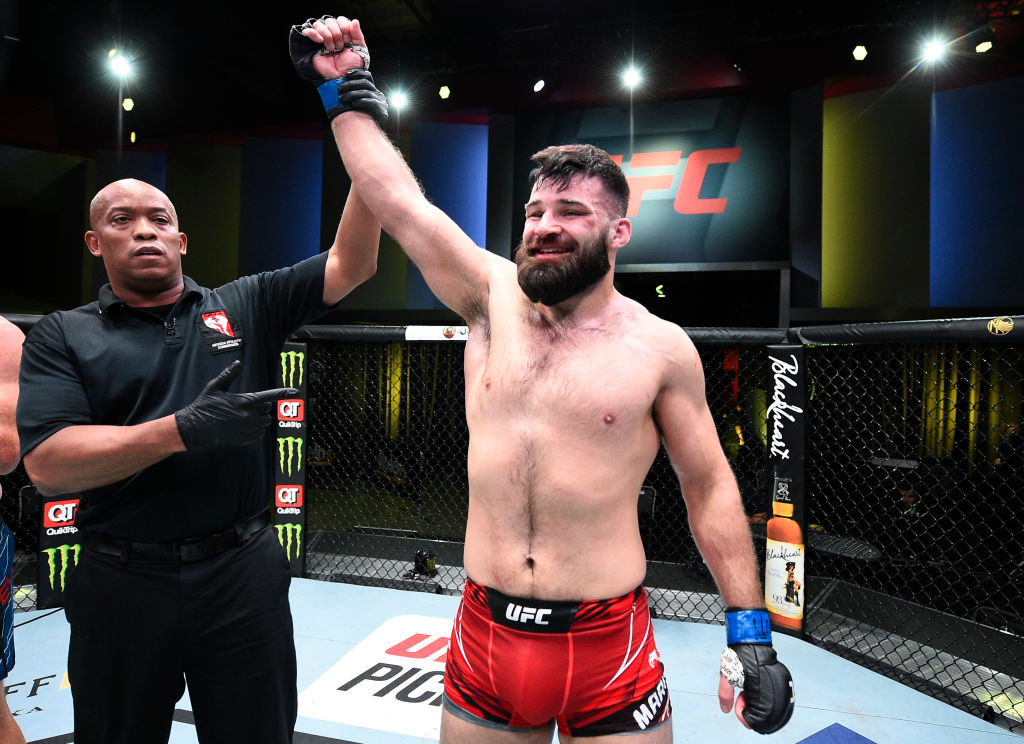 LAS VEGAS, NEVADA - APRIL 10: Julian Marquez reacts after his submission victory over Sam Alvey in a middleweight fight during the UFC Fight Night event at UFC APEX