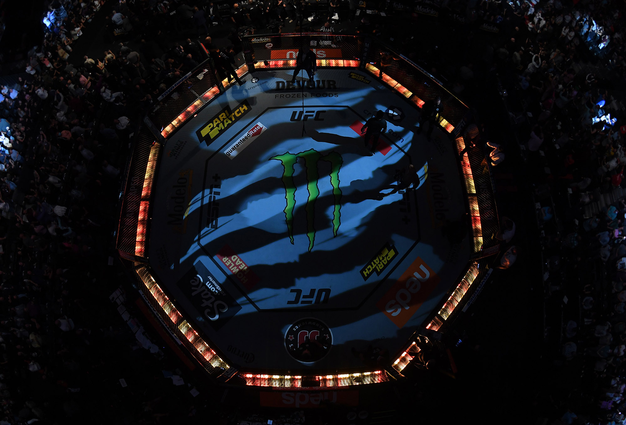 An overhead view of the Octagon during the UFC 266 event on September 25, 2021 in Las Vegas, Nevada. (Photo by Jeff Bottari/Zuffa LLC)