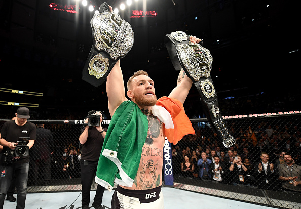 NEW YORK, NY - NOVEMBER 12:  Conor McGregor of Ireland celebrates his KO victory over Eddie Alvarez of the United States in their lightweight championship bout during the UFC 205 event at Madison Square Garden on November 12, 2016 in New York City.  (Phot