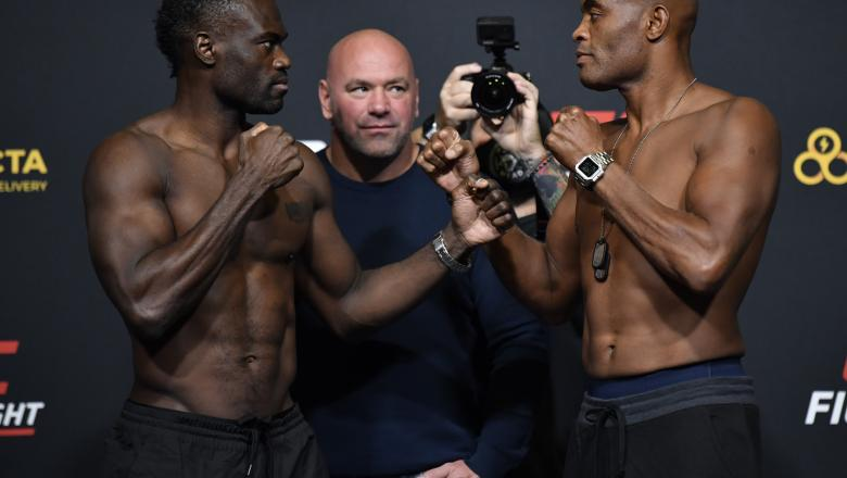 Opponents Uriah Hall of Jamaica and Anderson Silva of Brazil face off during the UFC Fight Night weigh-in at UFC APEX on October 30, 2020 in Las Vegas, Nevada. (Photo by Jeff Bottari/Zuffa LLC via Getty Images)