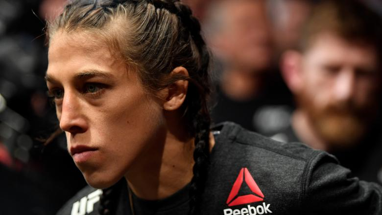 CALGARY, AB - JULY 28: Joanna Jedrzejczyk of Poland prepares to fight Tecia Torres in their women's strawweight bout during the UFC Fight Night event at Scotiabank Saddledome on July 28, 2018 in Calgary, Alberta, Canada. (Photo by Jeff Bottari/Zuffa LLC/Zuffa LLC via Getty Images)