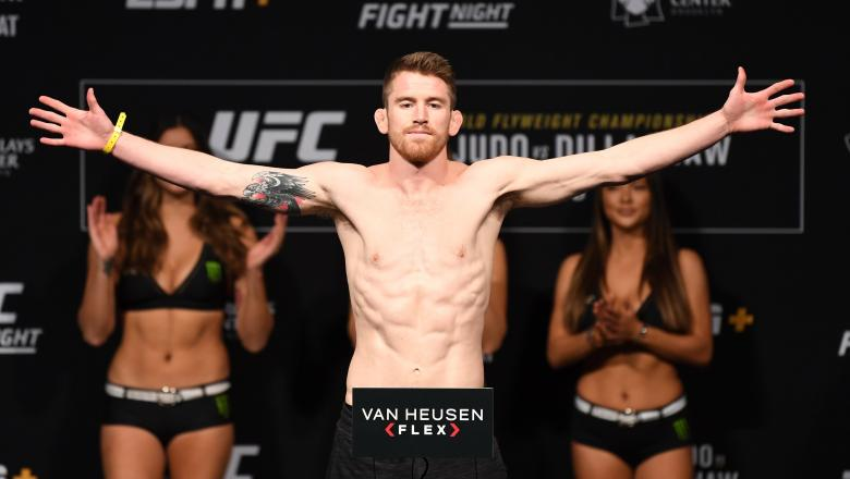 BROOKLYN, NEW YORK - JANUARY 18: Cory Sandhagen poses on the scale during the UFC Fight Night weigh-in at Barclays Center on January 18, 2019 in the Brooklyn borough of New York City. (Photo by Josh Hedges/Zuffa LLC/Zuffa LLC via Getty Images)
