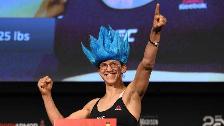 NEW YORK, NEW YORK - NOVEMBER 02: Roxanne Modafferi poses on the scale during the UFC 230 weigh-in inside Hulu Theater at Madison Square Garden on November 2, 2018 in New York, New York. (Photo by Jeff Bottari/Zuffa LLC/Zuffa LLC via Getty Images)