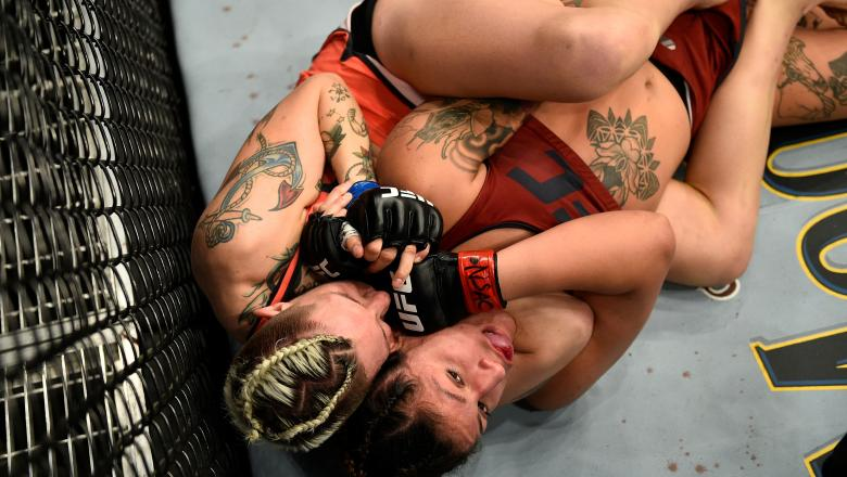 LAS VEGAS, NV - NOVEMBER 30: (L-R) Macy Chiasson secures a rear choke submission against Pannie Kianzad of Denmark during The Ultimate Fighter Finale event inside The Pearl concert theater at Palms Casino Resort on November 30, 2018 in Las Vegas, Nevada. (Photo by Chris Unger/Zuffa LLC/Zuffa LLC via Getty Images)