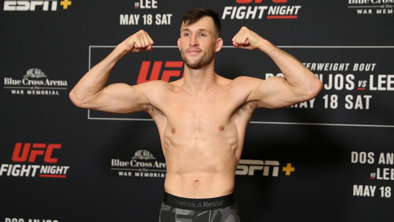 ROCHESTER, NY - MAY 17: Julian Erosa poses on the scale during the UFC Fight Night weigh-in at Rochester Riverside Hotel on May 17, 2019 in Rochester, New York. (Photo by Michael Owens/Zuffa LLC/Zuffa LLC via Getty Images)
