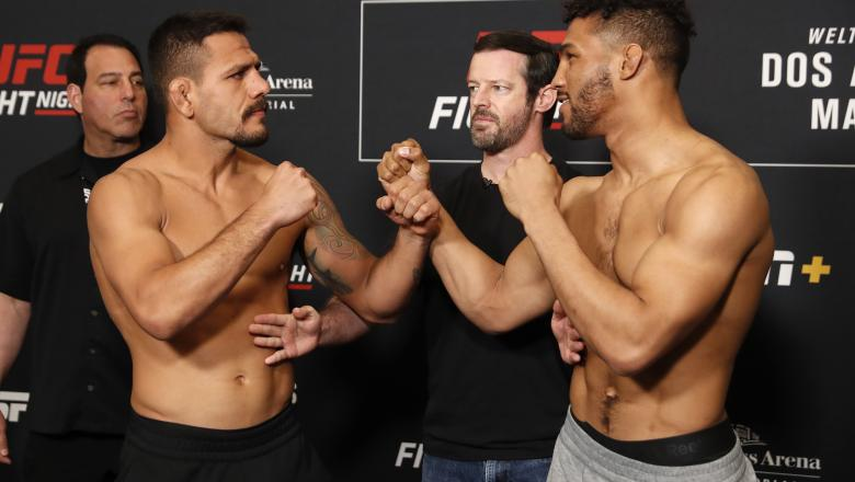 ROCHESTER, NY - MAY 17: (L-R) Rafael Dos Anjos of Brazil and Kevin Lee face off during the UFC Fight Night weigh-in at Rochester Riverside Hotel on May 17, 2019 in Rochester, New York. (Photo by Michael Owens/Zuffa LLC/Zuffa LLC via Getty Images)