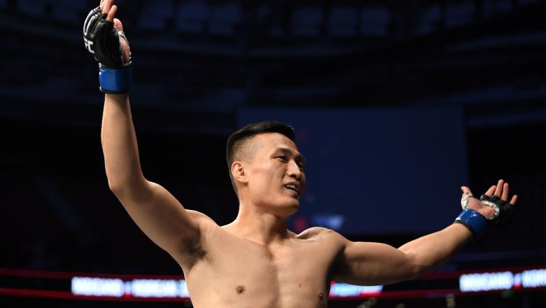 GREENVILLE, SC - JUNE 22: Chan Sung Jung of South Korea celebrates his KO victory over Renato Moicano of Brazil in their featherweight bout during the UFC Fight Night event at Bon Secours Wellness Arena on June 22, 2019 in Greenville, South Carolina. (Photo by Josh Hedges/Zuffa LLC/Zuffa LLC via Getty Images)