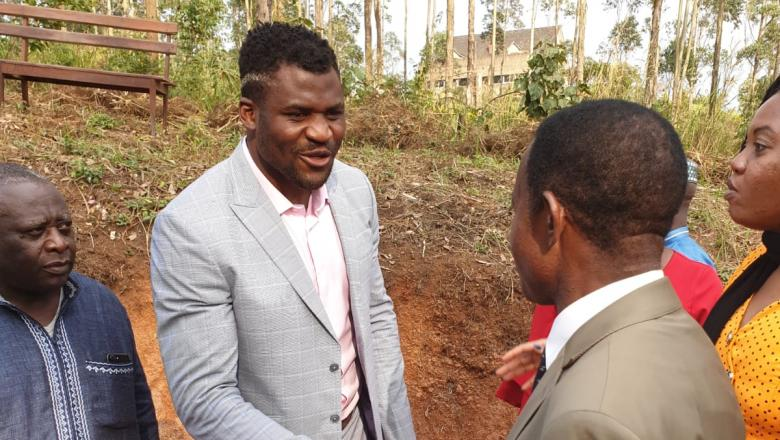 Francis Ngannou visits his home country of Cameroon at the opening of his Francis Ngannou Foundation
