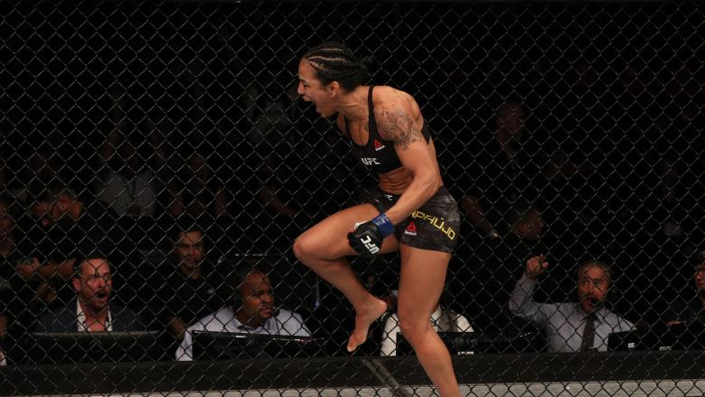 RIO DE JANEIRO, BRAZIL - MAY 11: Viviane Araujo of Brazil reacts after knocking out Talita Bernardo of Brazil in their women's bantamweight bout during the UFC 237 event at Jeunesse Arena on May 11, 2019 in Rio De Janeiro, Brazil. (Photo by Buda Mendes/Zuffa LLC/Zuffa LLC via Getty Images)