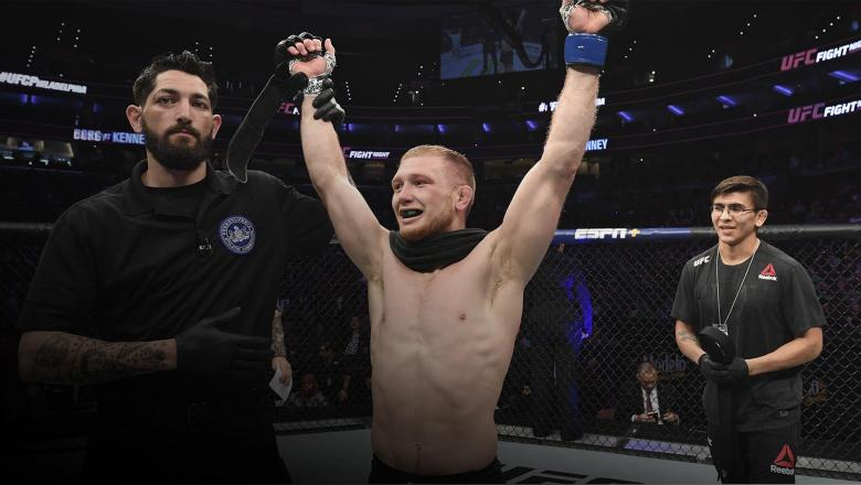 Casey Kenney celebrates after defeating Ray Borg by unanimous decision in their bantamweight bout during the UFC Fight Night Event event at Wells Fargo Center on March 30, 2019 in Philadelphia, Pennsylvania. (Photo by Josh Hedges/Zuffa LLC)