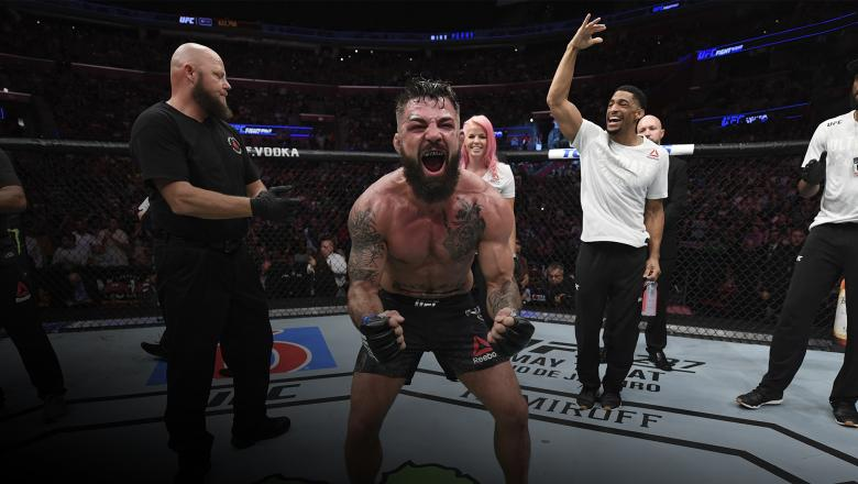 SUNRISE, FL - APRIL 27: Mike Perry celebrates his victory over Alex Oliveira of Brazil in their welterweight bout during the UFC Fight Night event at BB&T Center on April 27, 2019 in Sunrise, Florida. (Photo by Jeff Bottari/Zuffa LLC/Zuffa LLC via Getty Images)