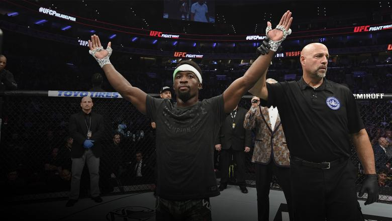 PHILADELPHIA, PA - MARCH 30: Sodiq Yusuff of Nigeria celebrates after defeating Sheymon Moraes of Brazil by unanimous decision in their featherweight bout during the UFC Fight Night event at Wells Fargo Center on March 30, 2019 in Philadelphia, Pennsylvania. (Photo by Josh Hedges/Zuffa LLC/Zuffa LLC via Getty Images)