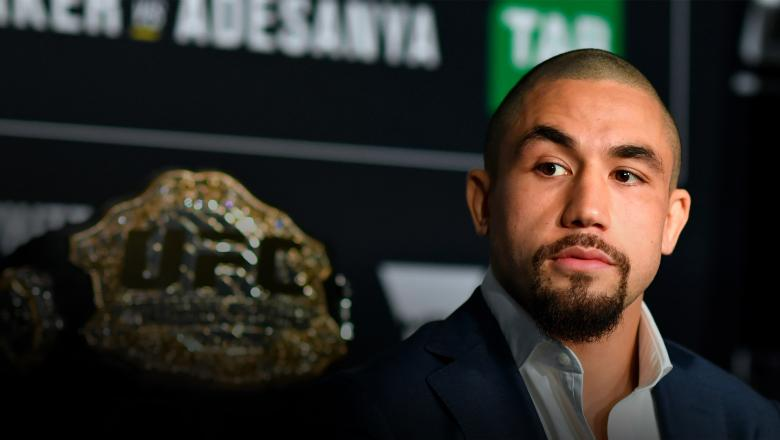 MELBOURNE, AUSTRALIA - OCTOBER 04: UFC middleweight champion Robert Whittaker of New Zealand interacts with media during UFC 243 Ultimate Media Day at Marvel Stadium on October 4, 2019 in Melbourne, Australia. (Photo by Jeff Bottari/Zuffa LLC/Zuffa LLC via Getty Images)