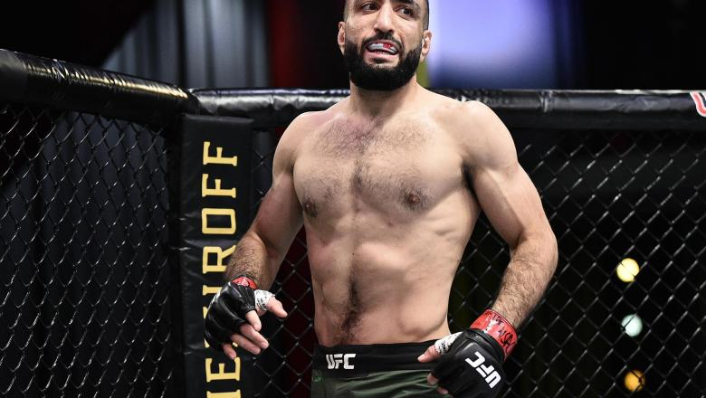 Belal Muhammad prepares to fight Lyman Good in their welterweight bout during the UFC Fight Night event at UFC APEX on June 20, 2020 in Las Vegas, Nevada. (Photo by Chris Unger/Zuffa LLC)