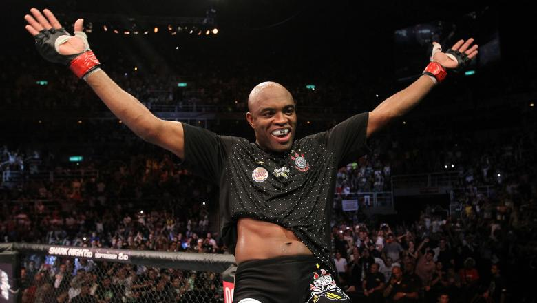 Anderson Silva celebrates after knocking out Yushin Okami in the UFC Middleweight Championship bout at UFC 134 at HSBC Arena on August 27, 2011 in Rio de Janeiro, Brazil. (Photo by Al Bello/Zuffa LLC)