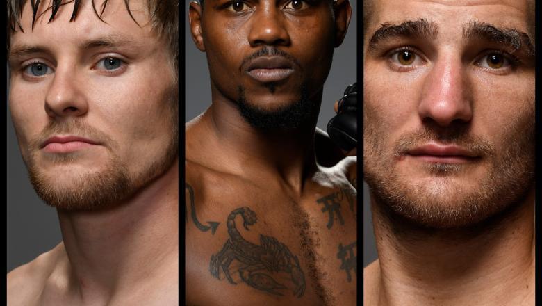 (L-R) Bryce Mitchell, Kevin Holland, Sean Strickland (Photos by Mike Roach/Zuffa LLC)