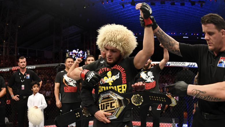 Khabib Nurmagomedov of Russia celebrates his submission victory over Dustin Poirier in their lightweight championship bout during UFC 242 at The Arena on September 7, 2019 in Yas Island, Abu Dhabi, United Arab Emirates. (Photo by Jeff Bottari/Zuffa LLC via Getty Images)