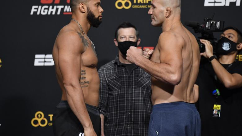 Opponents Thiago Santos of Brazil and Glover Teixeira of Brazil face off during the UFC weigh-in at UFC APEX on November 06, 2020 in Las Vegas, Nevada. (Photo by Jeff Bottari/Zuffa LLC)