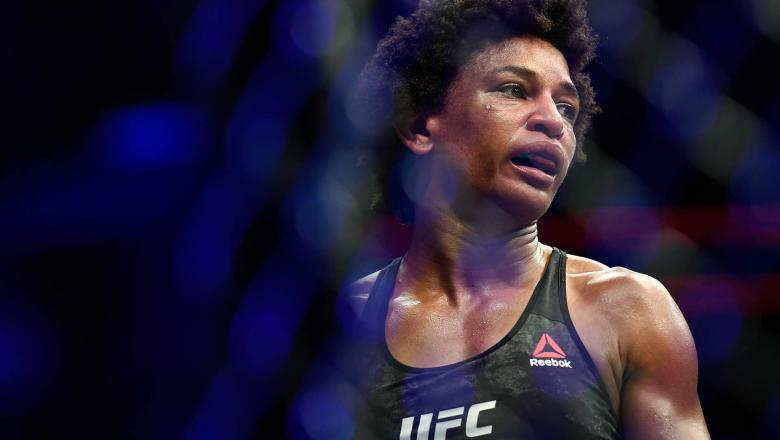Angela Hill of the United States looks on after the fight against Claudia Gadelha (not pictured) of Brazil in their Women's Strawweight bout during UFC Fight Night at VyStar Veterans Memorial Arena on May 16, 2020 in Jacksonville, Florida. (Photo by Douglas P. DeFelice/Getty Images)