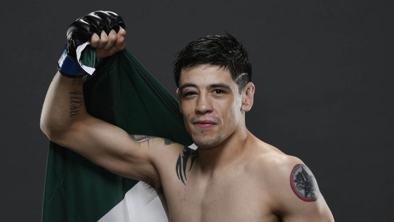 Brandon Moreno of Mexico poses for a portrait backstage after his victory during the UFC Fight Night event on March 14, 2020 in Brasilia, Brazil. (Photo by Mike Roach/Zuffa LLC)