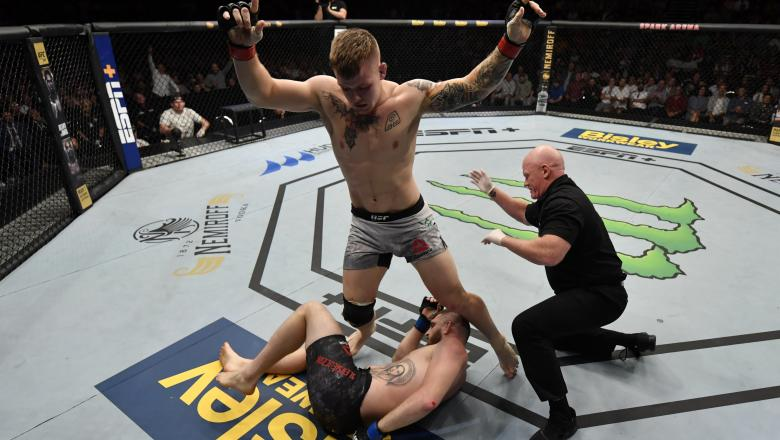Jim Crute of Australia reacts after his submission victory over Michal Oleksiejczuk in their light heavyweight bout during the UFC Fight Night event at Spark Arena on February 23, 2020 in Auckland, New Zealand. (Photo by Jeff Bottari/Zuffa LLC)
