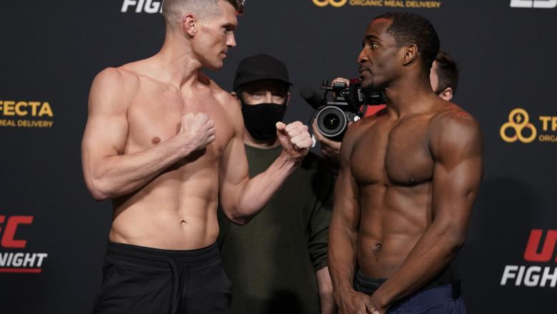 Opponents Stephen Thompson and Geoff Neal face off during the UFC Fight Night weigh-in at UFC APEX on December 18, 2020 in Las Vegas, Nevada. (Photo by Cooper Neill/Zuffa LLC via Getty Images)