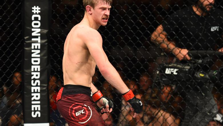 Arnold Allen of England celebrates his submission victory over Mads Burnell in their featherweight bout during the UFC Fight Night event at ECHO Arena on May 27, 2018 in Liverpool, England. (Photo by Josh Hedges/Zuffa LLC via Getty Images)