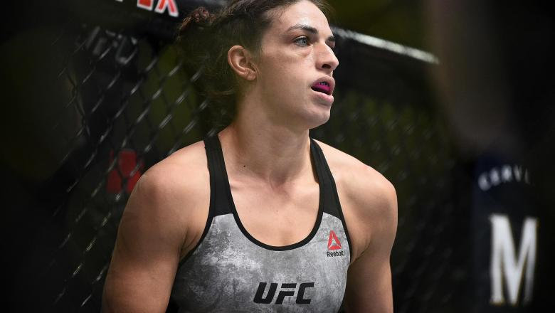 Mackenzie Dern prepares to fight Randa Markos of Iraq in their strawweight bout during the UFC Fight Night event at UFC APEX on September 19, 2020 in Las Vegas, Nevada. (Photo by Chris Unger/Zuffa LLC)