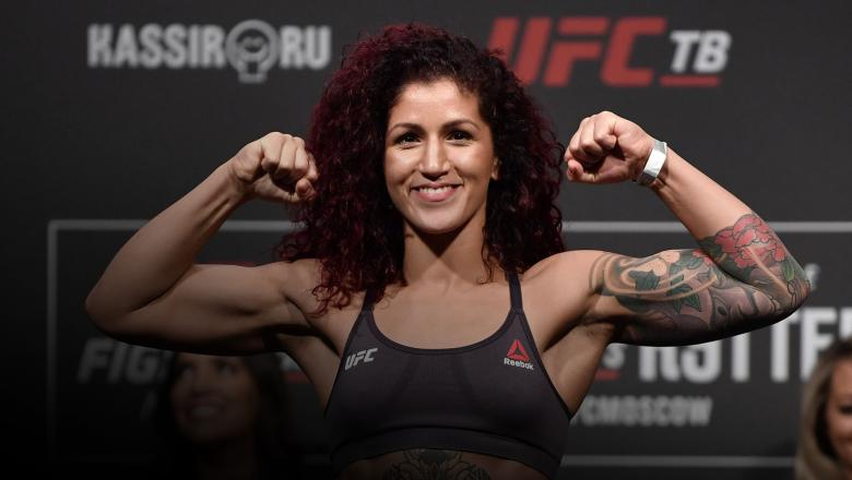 Pannie Kianzad of Iran poses on the scale during the UFC Fight Night weigh-ins at CSKA Arena on November 08, 2019 in Moscow, Russia. (Photo by Jeff Bottari/Zuffa LLC)