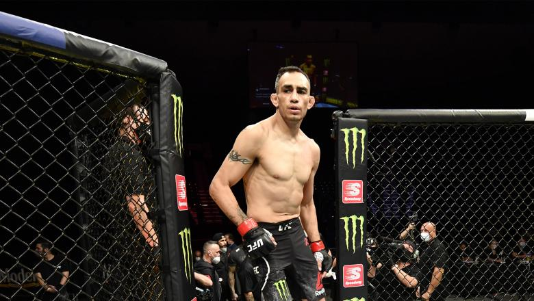 Tony Ferguson prepares to fight Justin Gaethje in their UFC interim lightweight championship fight during the UFC 249 event at VyStar Veterans Memorial Arena on May 09, 2020 in Jacksonville, Florida. (Photo by Jeff Bottari/Zuffa LLC)