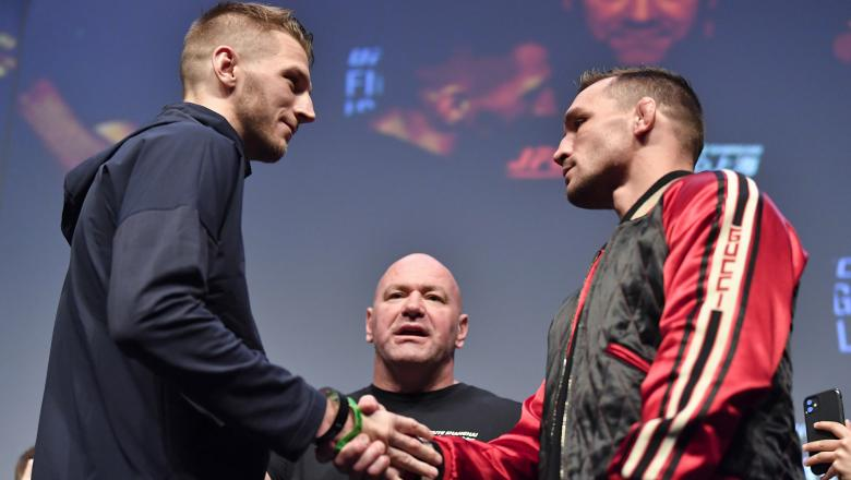 Dan Hooker and Michael Chandler face off during the UFC 257 Press Conference inside Etihad Arena on UFC Fight Island on January 20, 2021 in Yas Island, Abu Dhabi, United Arab Emirates. (Photo by Chris Unger/Zuffa LLC via Getty Images)